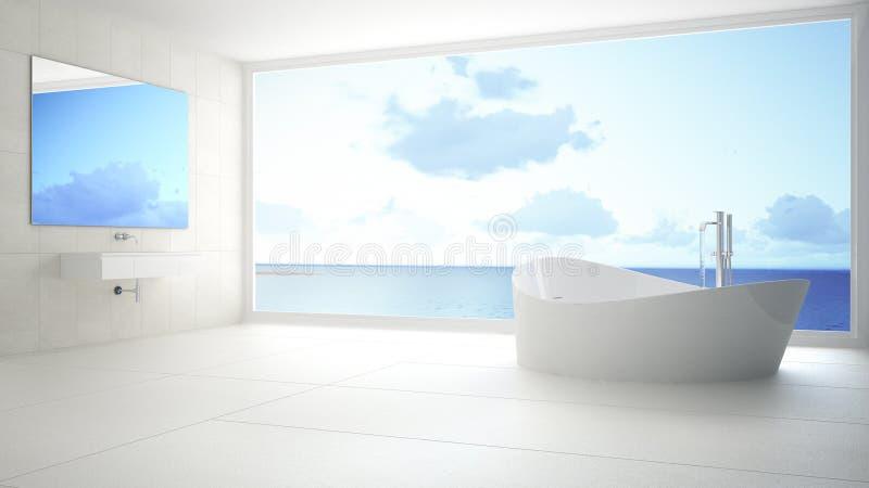 Cuarto de baño blanco y gris minimalista con la ventana panorámica grande, su imágenes de archivo libres de regalías