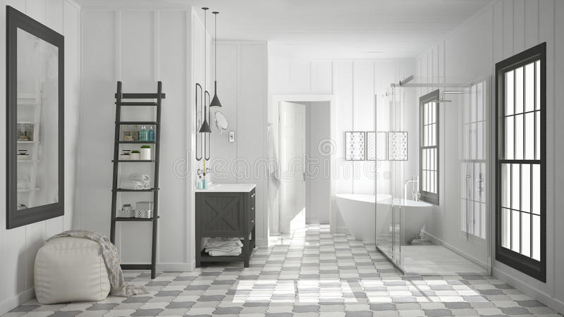 Cuarto de baño blanco y gris minimalista escandinavo, ducha, bañera libre illustration
