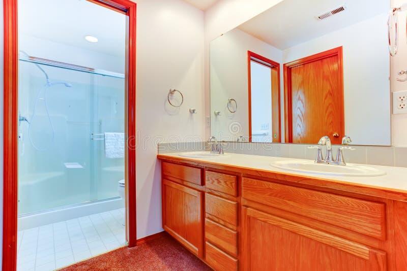 Cuarto de baño brillante con la ducha de la puerta y el gabinete de cristal de la vanidad imágenes de archivo libres de regalías