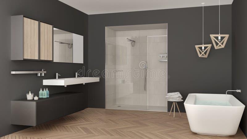 Cuarto de baño brillante minimalista con el fregadero doble, la ducha y la bañera, ilustración del vector