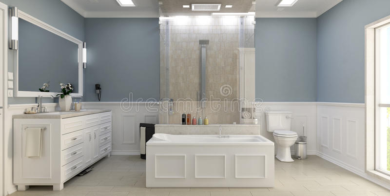 Cuarto de baño clásico moderno con el wc imagen de archivo