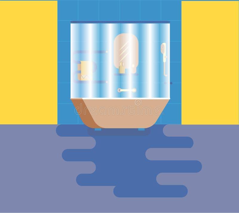 Cuarto de baño con las amenidades stock de ilustración