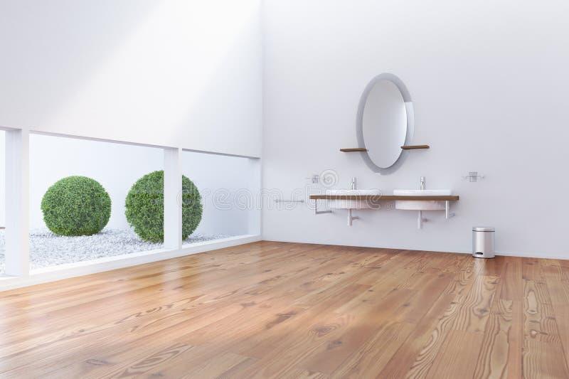 Cuarto de baño con las ventanas inferiores stock de ilustración