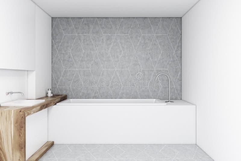 Cuarto de baño con una pared gris ilustración del vector