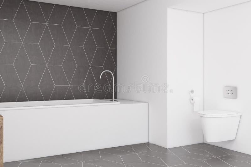 Cuarto de baño con una pared gris oscuro, lado ilustración del vector