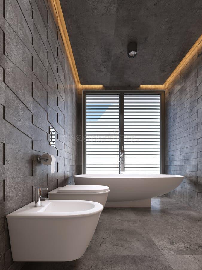 Cuarto de baño contemporáneo en tonos oscuros con la iluminación del techo stock de ilustración