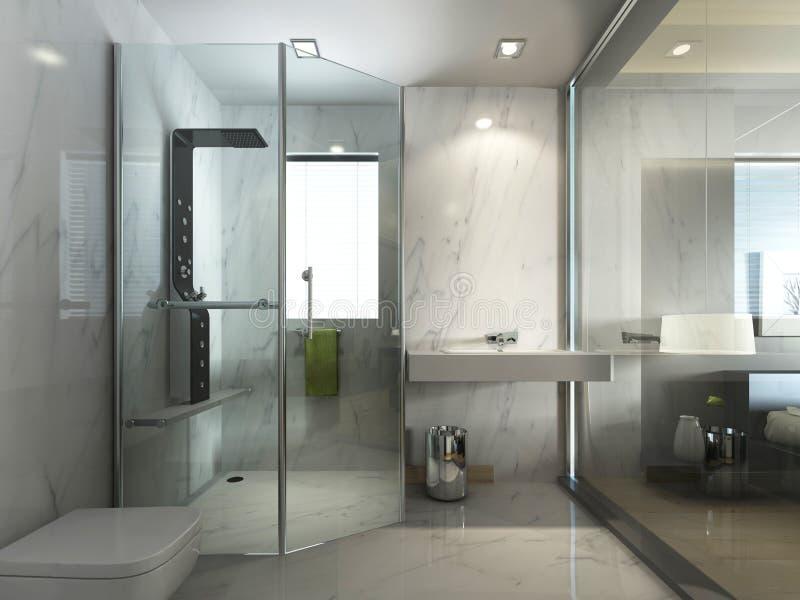 Cuarto de baño de cristal transparente con la ducha y el WC ilustración del vector