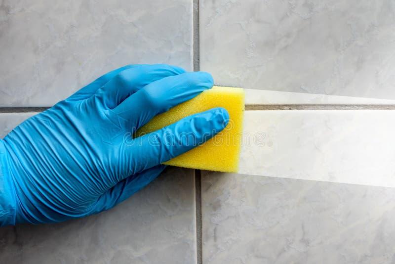 Cuarto de baño de la limpieza de la esponja imagen de archivo