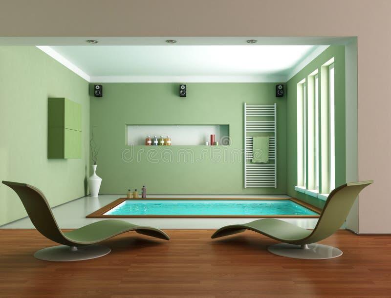 Cuarto de baño de lujo minimalista verde ilustración del vector