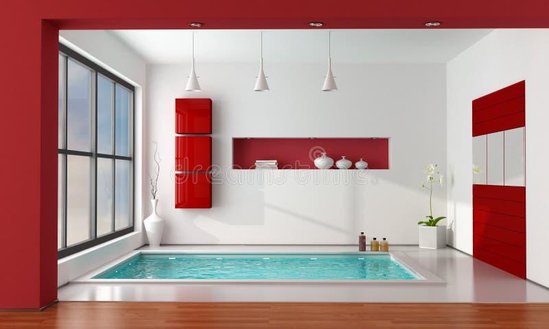 Cuarto de baño de lujo rojo y blanco ilustración del vector
