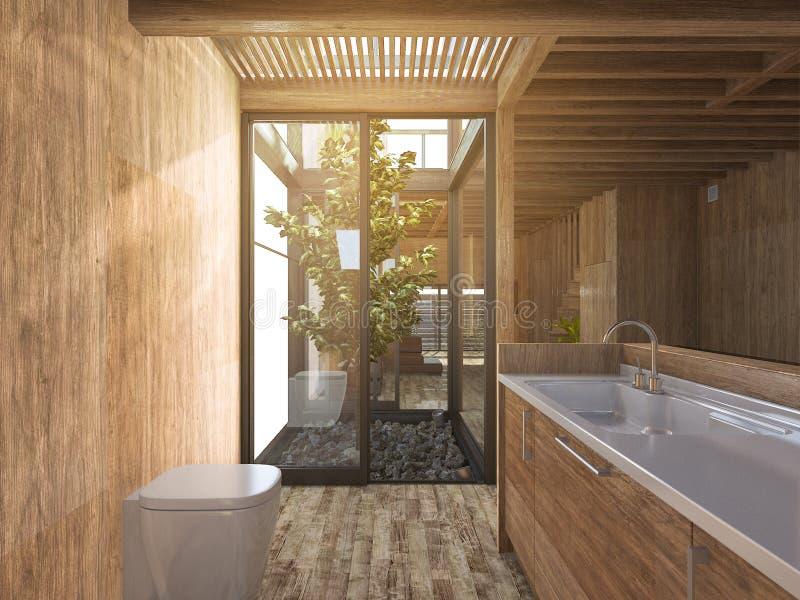 Cuarto de ba o de madera de la representaci n 3d cerca del for Casa stile zen