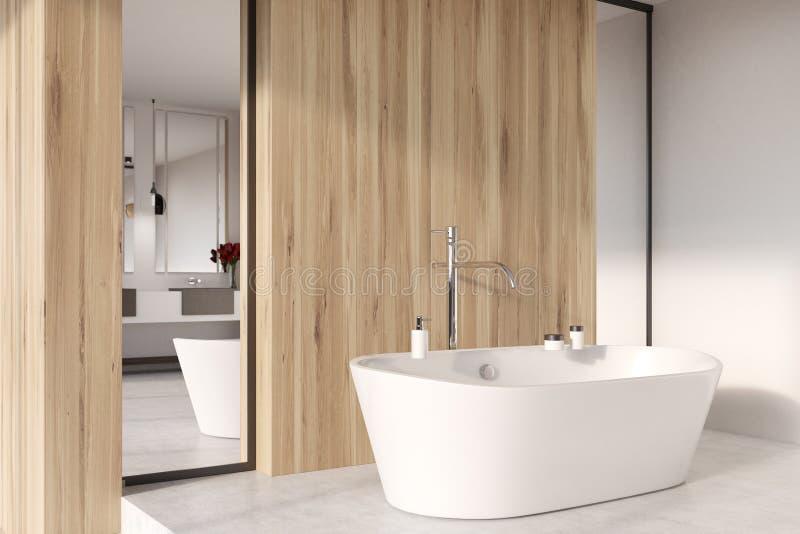Cuarto de baño de madera, ducha, ascendente cercano de la tina libre illustration