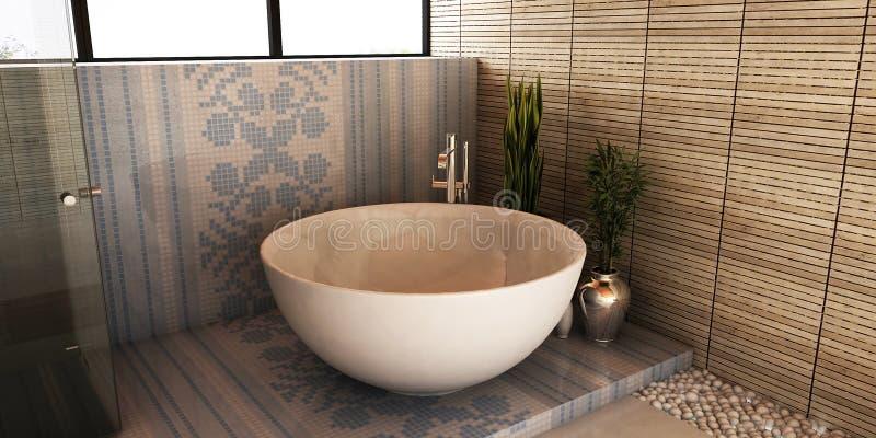 Cuarto de baño del balneario stock de ilustración