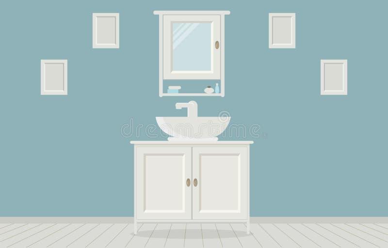 Cuarto de baño del estilo de Provencal con el lavabo, guardarropa, pinturas en la pared libre illustration