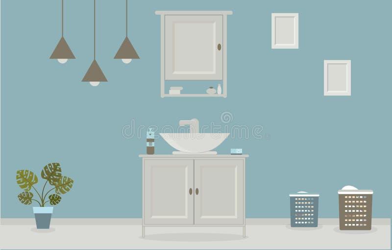 Cuarto de baño del estilo de Provence con el lavabo, guardarropa, pinturas en la pared ilustración del vector