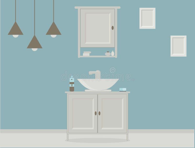Cuarto de baño del estilo de Provence con el lavabo, guardarropa, pinturas en la pared stock de ilustración
