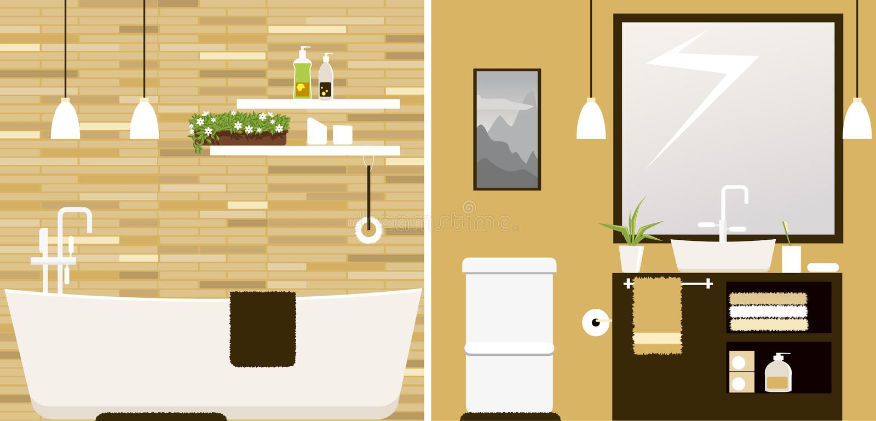 Cuarto de baño después de remodelar stock de ilustración