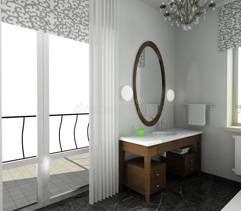 Cuarto de baño. Diseño moderno de interior ilustración del vector