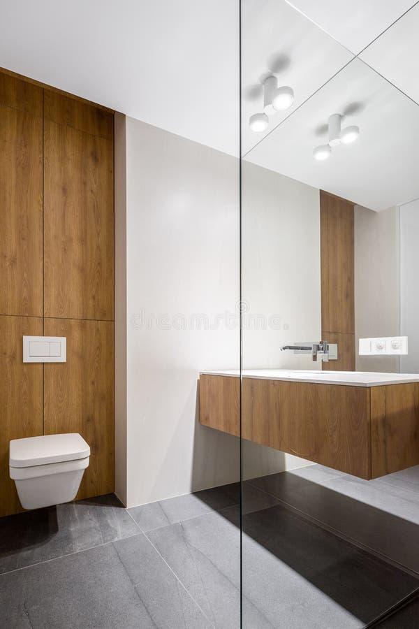 Cuarto de baño elegante con el retrete cúbico fotografía de archivo libre de regalías