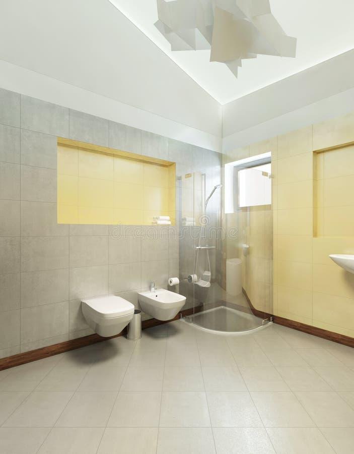 Cuarto de baño en estilo contemporáneo Cuarto de baño con ti gris y amarillo stock de ilustración
