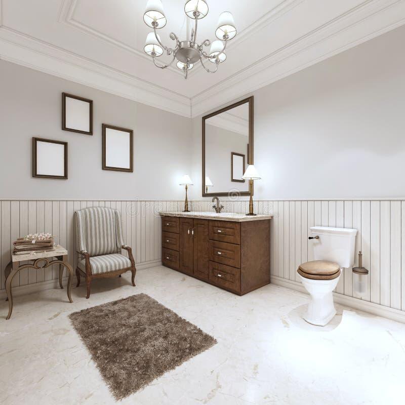 Cuarto de baño en estilo moderno con el baño del fregadero y retrete con un comfor ilustración del vector