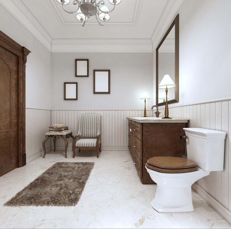 Cuarto de baño en estilo moderno con el baño del fregadero y retrete con un comfor libre illustration