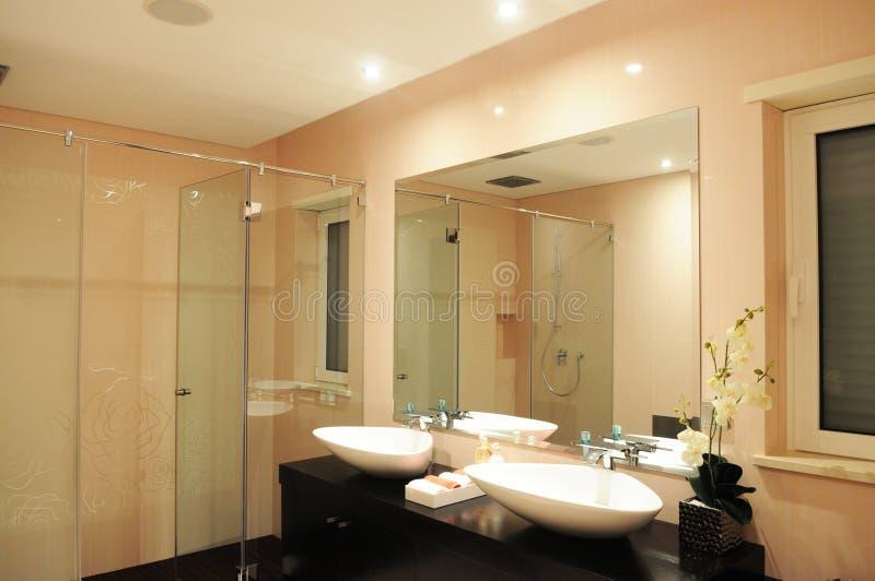 Cuarto de baño en un rosa claro con las rosas en la pared imagen de archivo libre de regalías