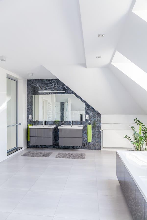Cuarto de baño espacioso brillante foto de archivo libre de regalías