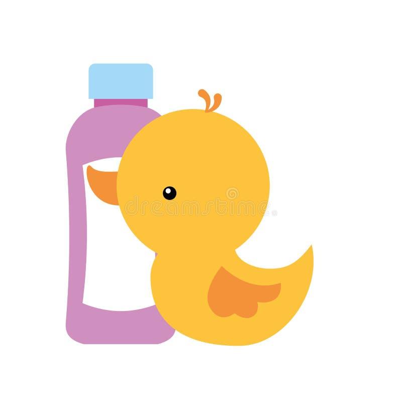 Cuarto de baño de goma del pato y de la botella del champú libre illustration