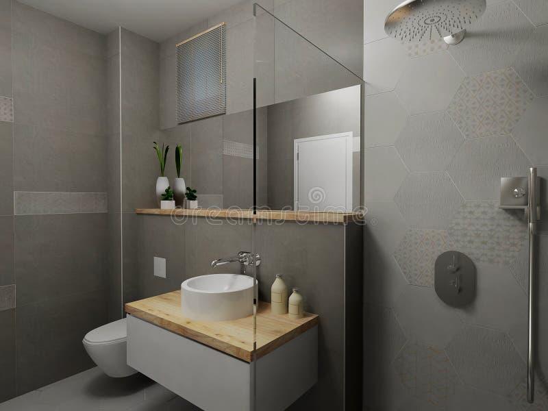 Cuarto de baño gris moderno ilustración del vector