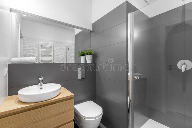 Cuarto de baño gris moderno con la ducha imagen de archivo libre de regalías