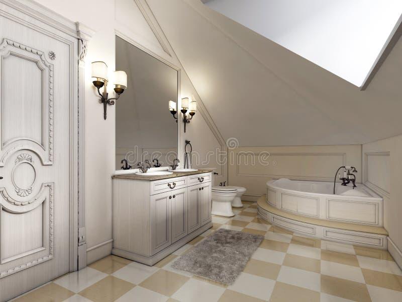 Cuarto de baño hermoso y brillante en el estilo de Provence con furni beige libre illustration
