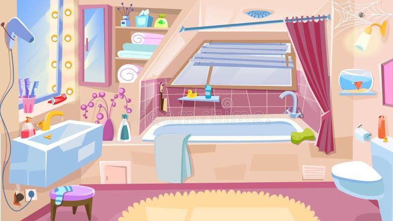 Cuarto de baño de la historieta Cuarto de baño interior con la bañera, fregadero del retrete del grifo, espejo Ilustración del ve stock de ilustración