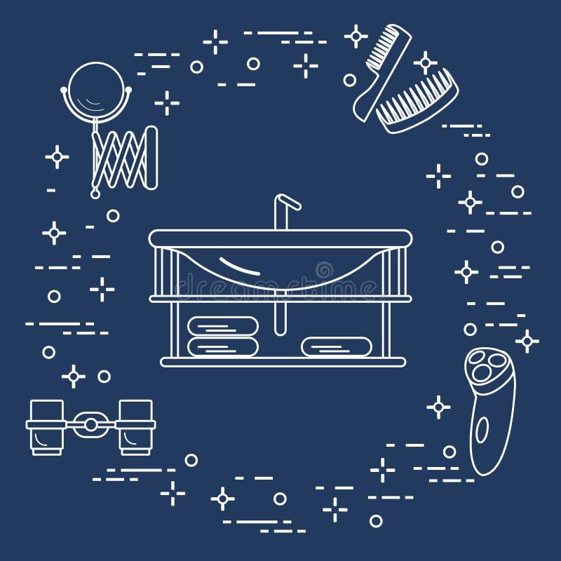 Cuarto de baño: lavabo, maquinilla de afeitar, espejo y otro libre illustration
