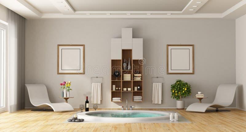 Cuarto de baño de lujo con la bañera redonda incorporada libre illustration