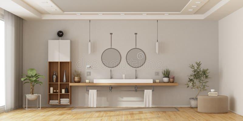 Cuarto de baño minimalista con el lavabo doble stock de ilustración
