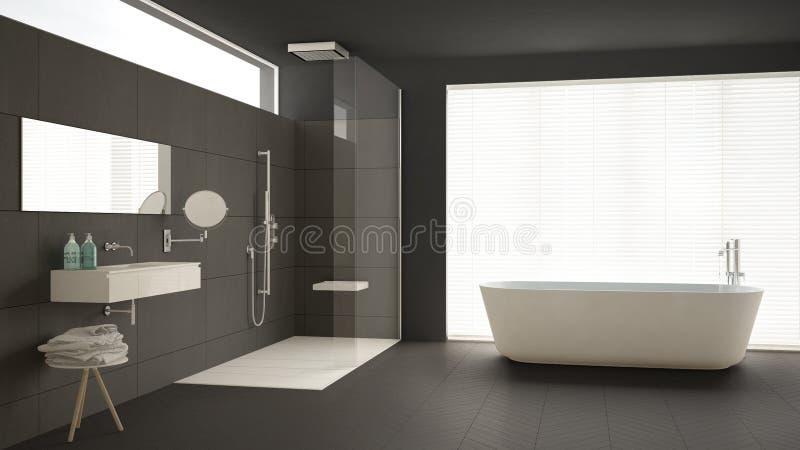 Cuarto de ba o minimalista con la ba era y ducha piso de for Piso ducha bano