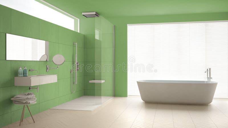 Cuarto de baño minimalista con la bañera y ducha, piso de entarimado y m imagenes de archivo