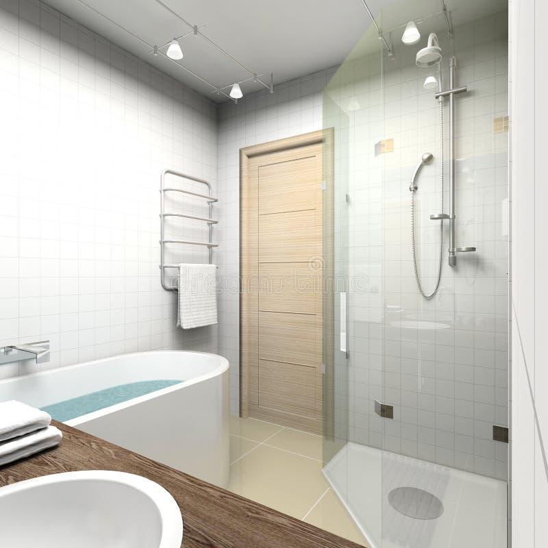 Cuarto de baño moderno. 3D rinden foto de archivo libre de regalías