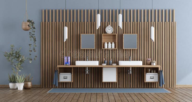 Cuarto de baño moderno con el lavabo doble stock de ilustración