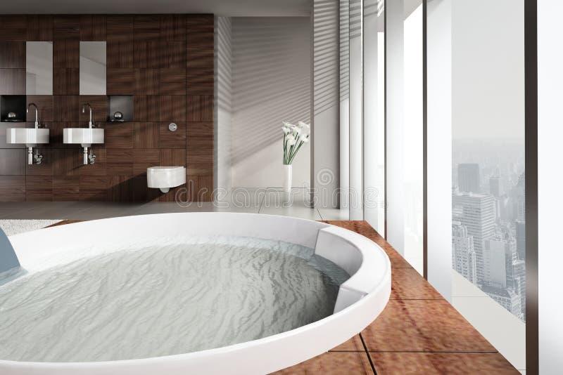 Cuarto de baño moderno con el lavabo y el Jacuzzi dobles imagenes de archivo
