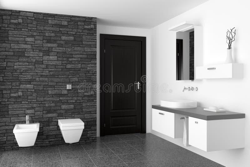 Cuarto de baño moderno con la pared de piedra negra imagen de archivo