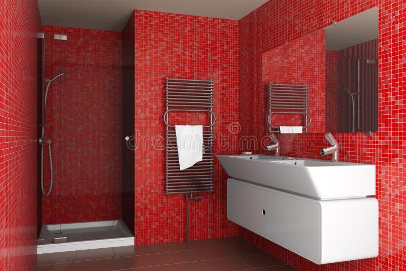 Cuarto de baño moderno con los azulejos de mosaico rojos stock de ilustración