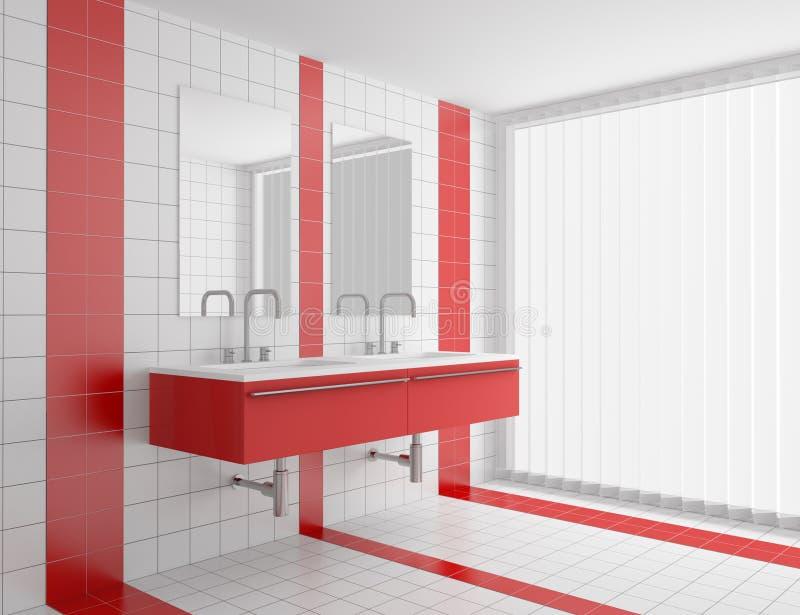 Cuarto De Baño Moderno Con Los Azulejos Rojos Y Blancos Stock de ...