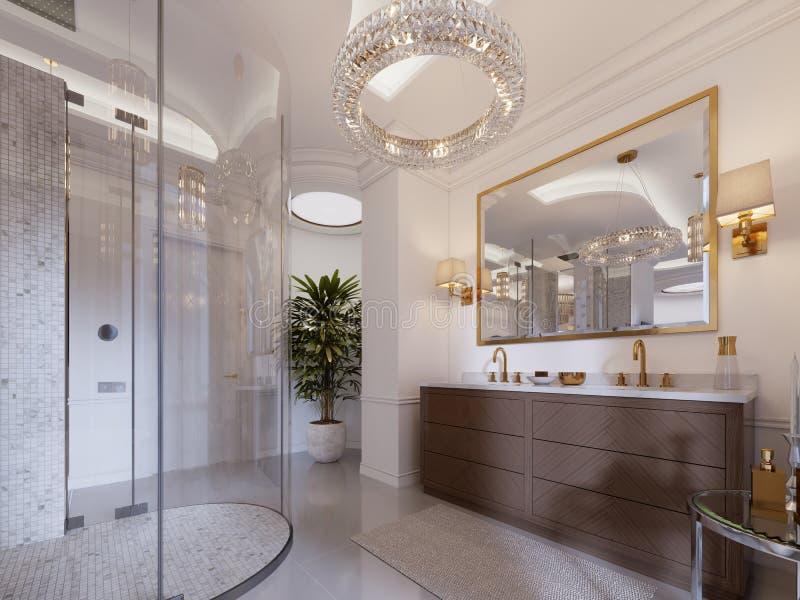 Cuarto de baño moderno con vanidad y un espejo en un marco del oro con los apliques en la pared, una tabla baja con la decoración stock de ilustración
