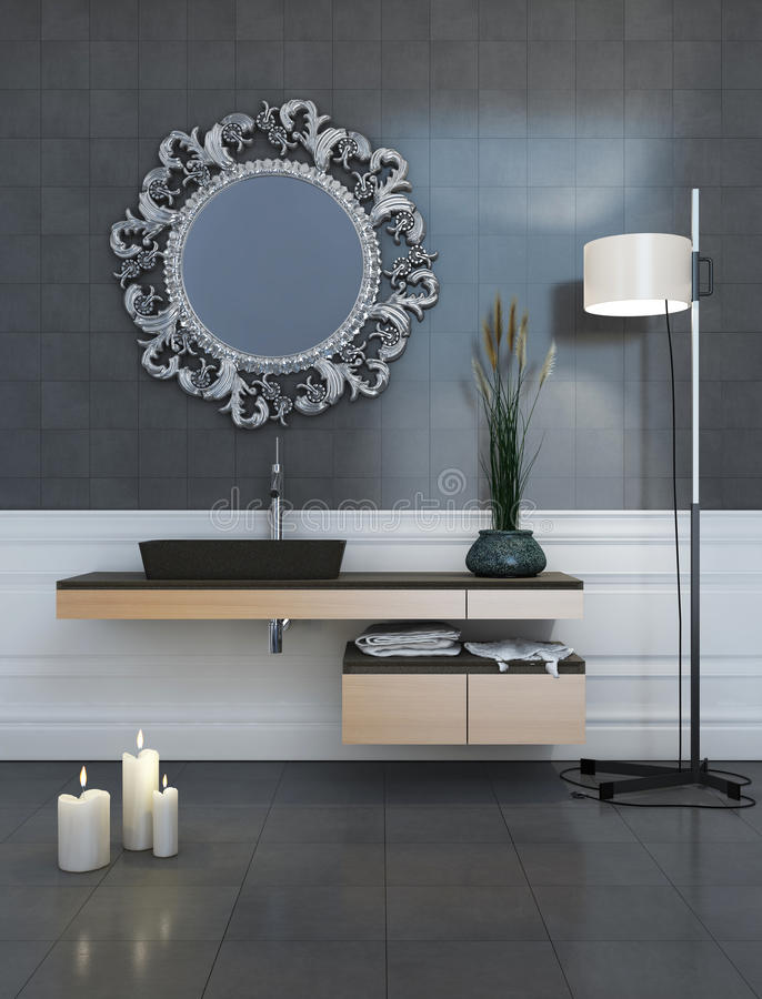 Cuarto de baño moderno del gris del estilo ilustración del vector