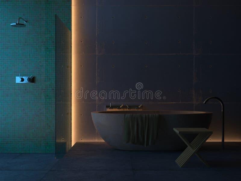 Cuarto de baño moderno (noche) ilustración del vector