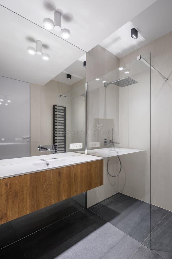Cuarto de baño moderno y elegante con el espejo grande imagen de archivo libre de regalías