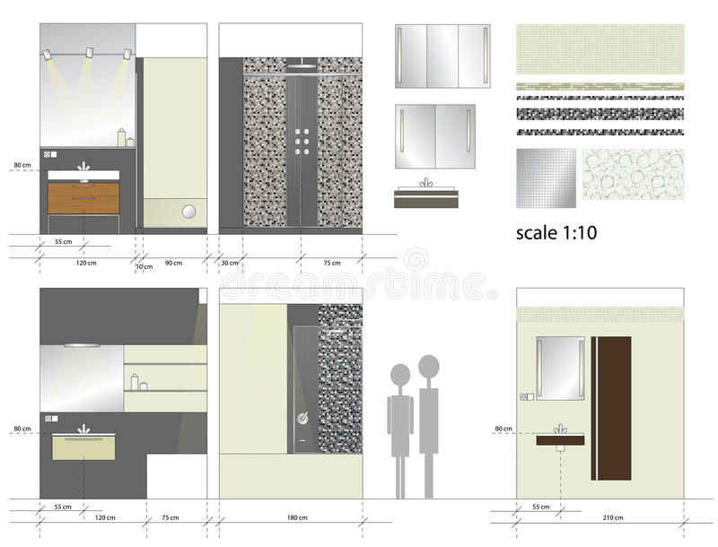 Cuarto de baño. Muebles interiores. Ejemplo del vector. stock de ilustración