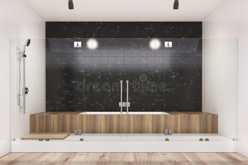 Cuarto de baño negro interior, tina de madera, ducha stock de ilustración